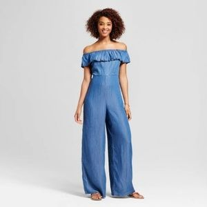 Off the shoulder ruffle chambray jumpsuit